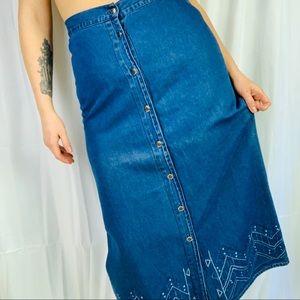 Long Vintage Jean Skirt